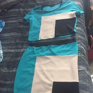 2-piece pencil skirt and crop top